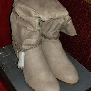 NWT Faux Suede Mid-Calf Boots